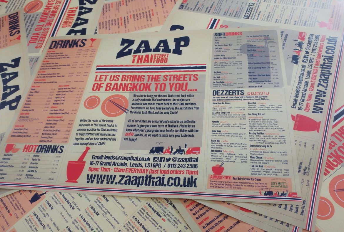 Zaap printed flyer